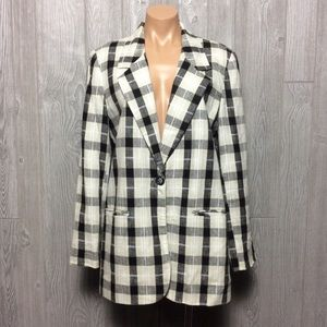 Jackets & Blazers - Blazer jacket vintage black white patterned
